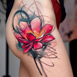 Hip Red Flower Tattoo