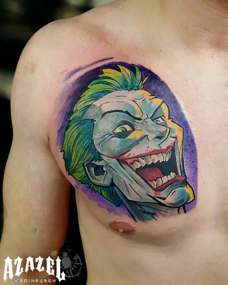 chest joker tattoo new school