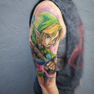 Watercolor Legend of Zelda Tattoo on Shoulder