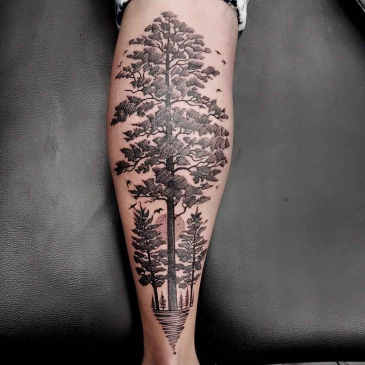tree tattoo linework dotwork