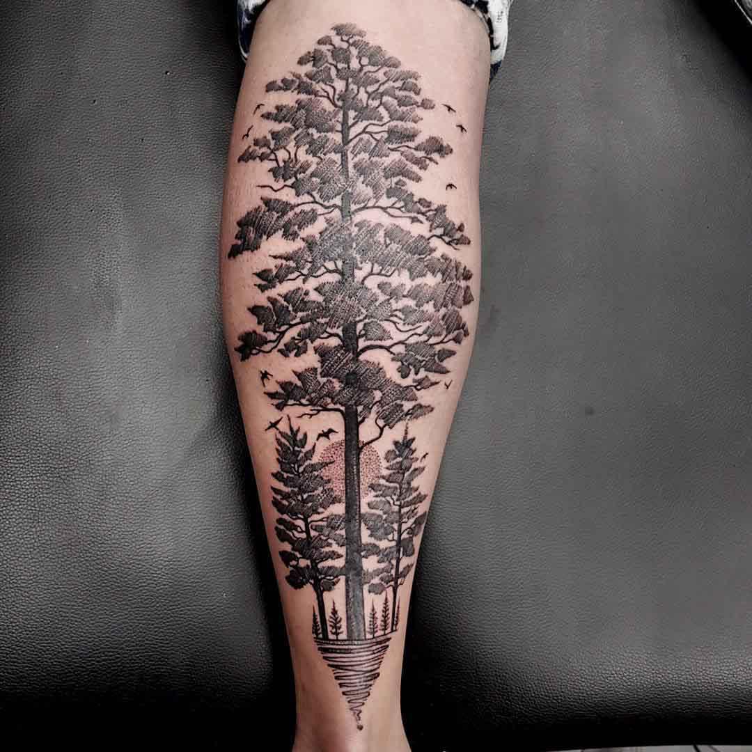 tree tattoo linework dotwork