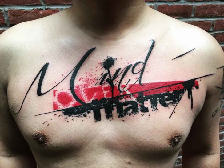 Chest trash polka tattoo lettering