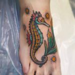 Old School Seahorse Tattoo on Foot