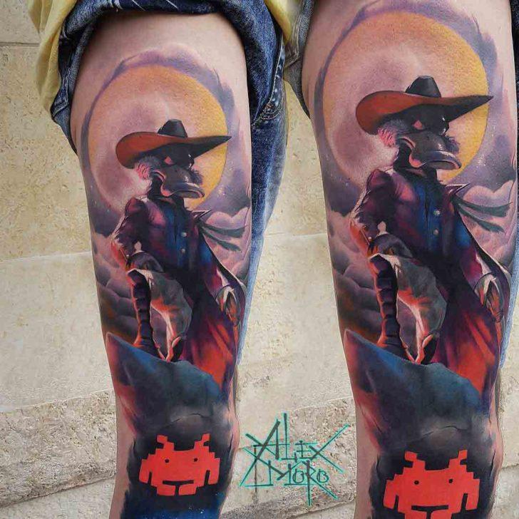 dark wing duck tattoo on thigh