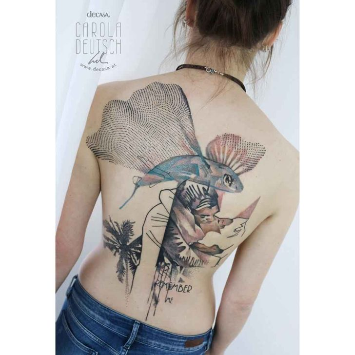 flying fish tattoo on back