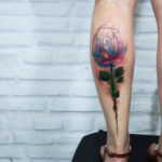 Rose Tattoo on Calf Watercolor Style