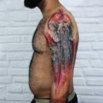 Sacred Elephant Tattoo on Shoulder