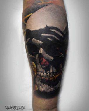 Realistic Skull Tattoo on Forearm