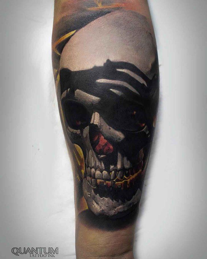 arm tattoo realistic skull