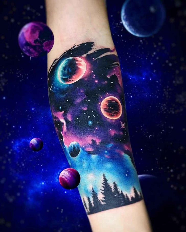 Space tattoo forearm band best tattoo ideas gallery for Galaxy tattoo sleeve