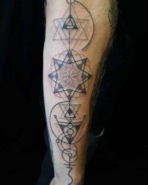 Straight Up Geometry Tattoo