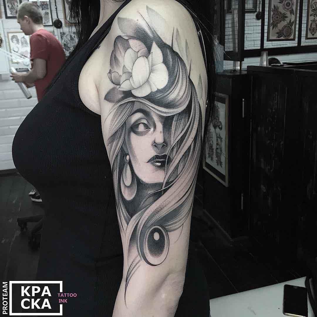 shoulder tattoo portrait woman