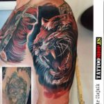 Tiger Cover-Up Tattoo on Shoulder