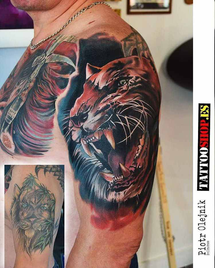 realistic tattoo cover up of a tiger