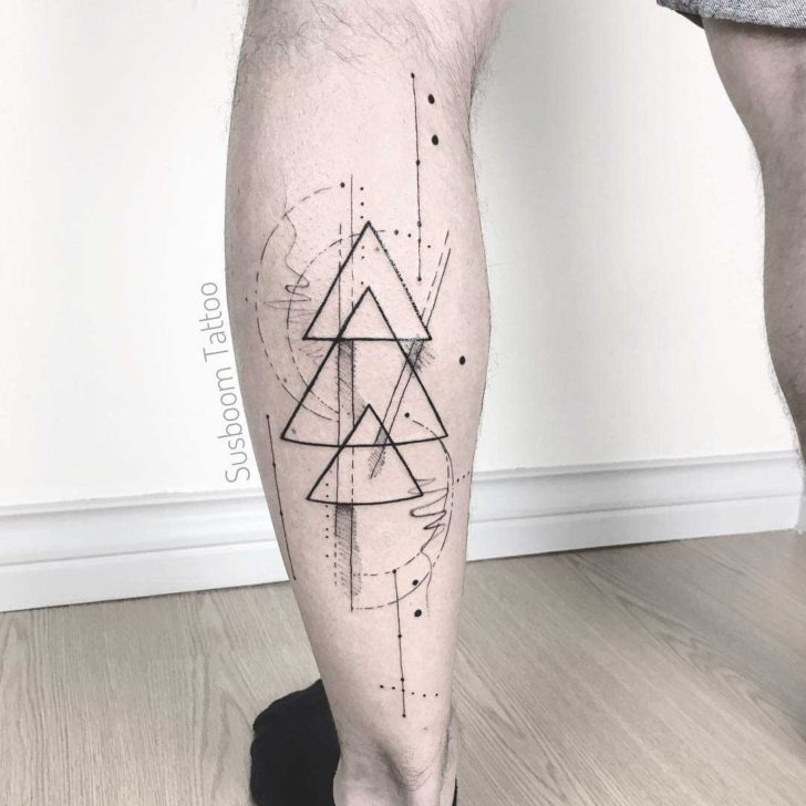 triangles tattoo on calf