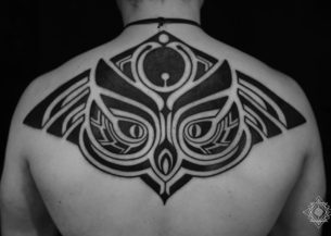 Tribal Owl Tattoo on Back