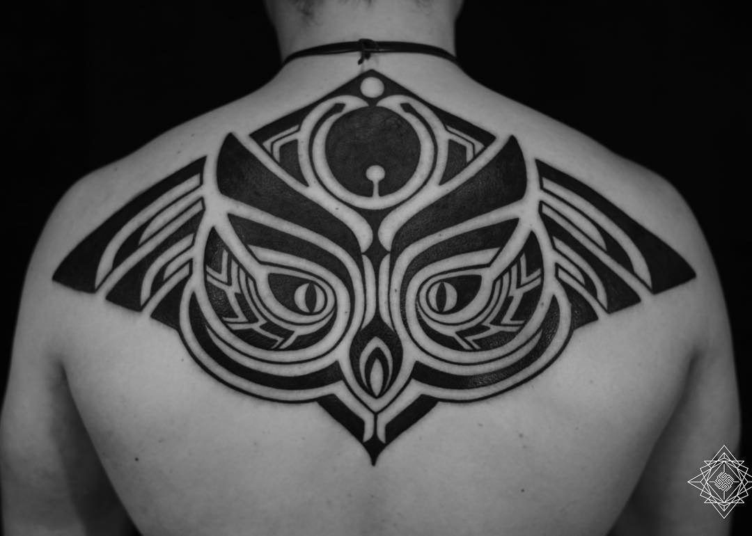 back tribal tattoo owl