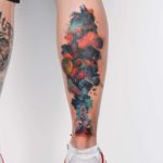 Watercolor Space Tattoo on Calf