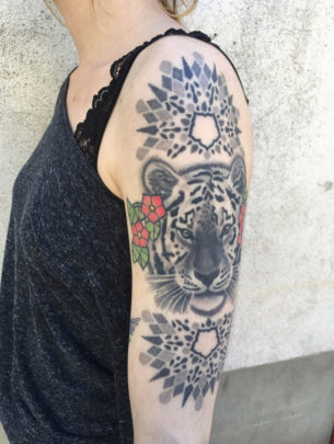 Tiger and Geometry on shoulder