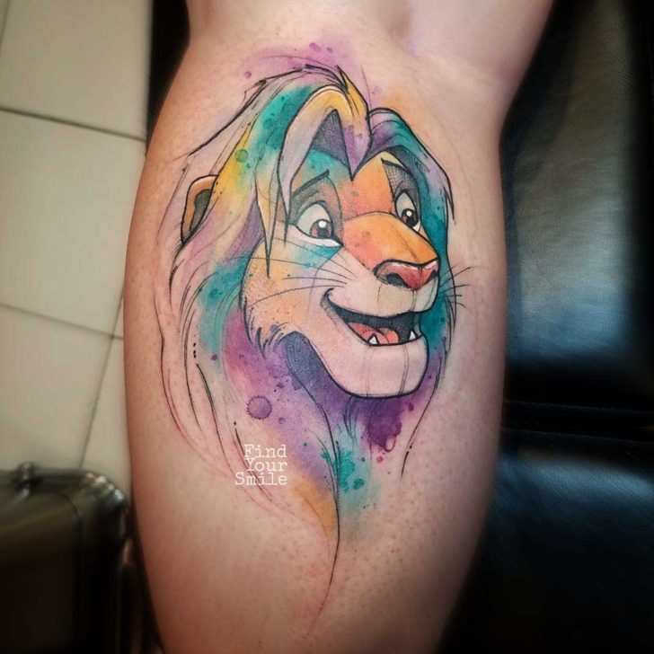 lion king tattoo watercolor style simba
