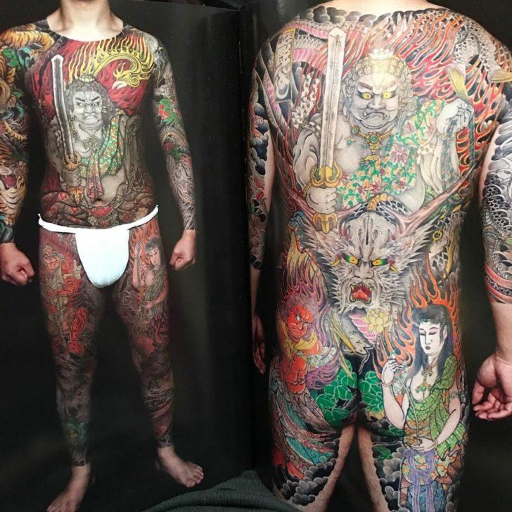 Full Torso Fudomyo-o Tattoo Yakuza