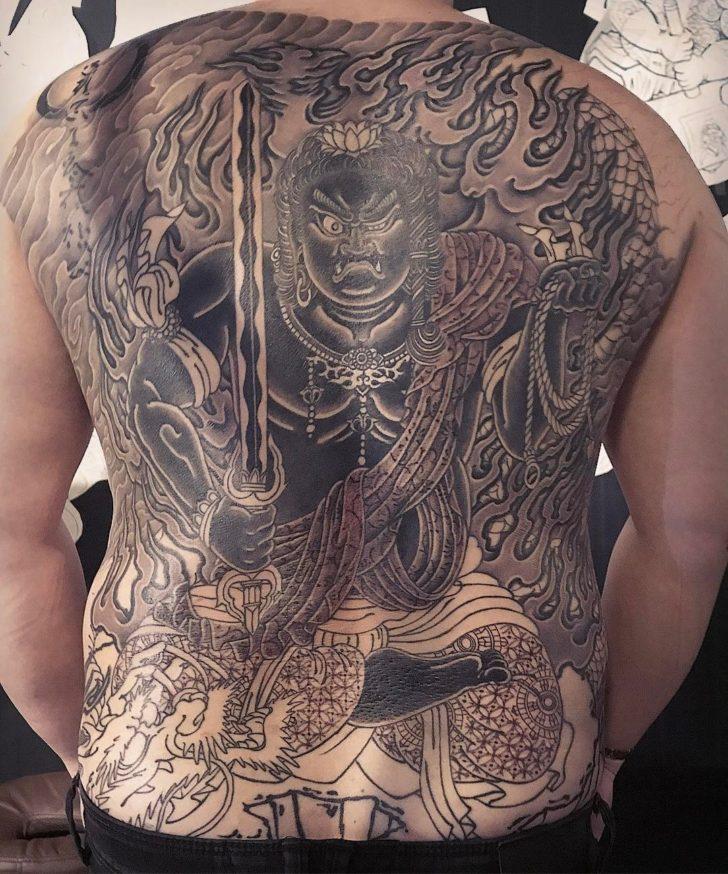 Back And Grey Yakuza Tattoo Fudomyo-o In Progress
