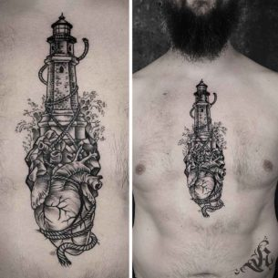 Lighthouse and Heart Tattoo