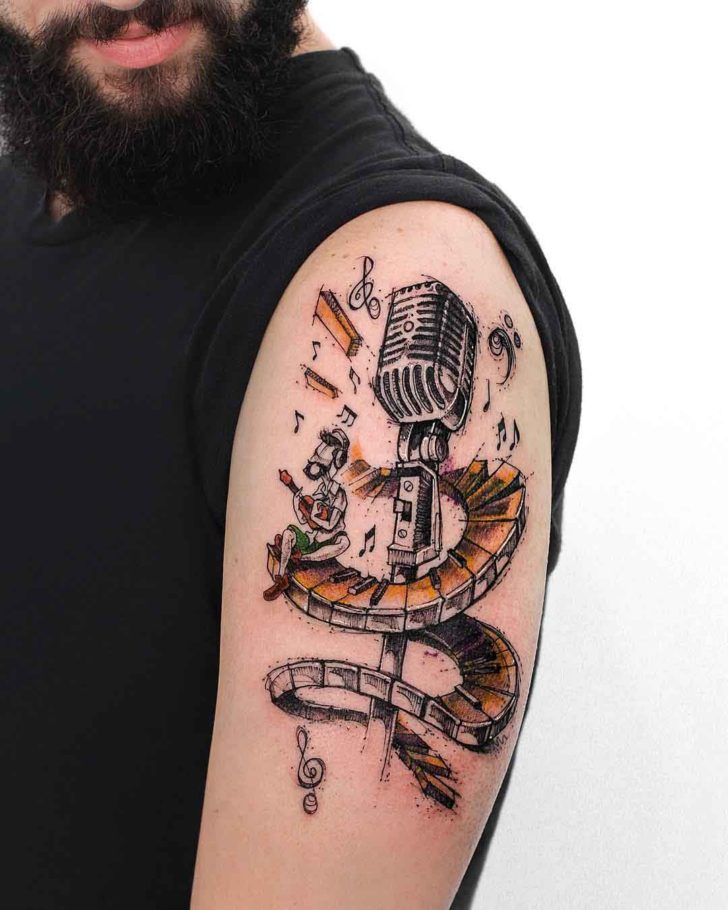 shoulder tattoo microphone