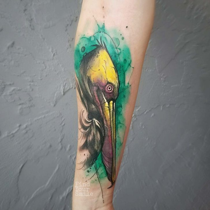 watercolor tattoo pelican