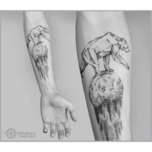 Planet Bear Tattoo on Forearm