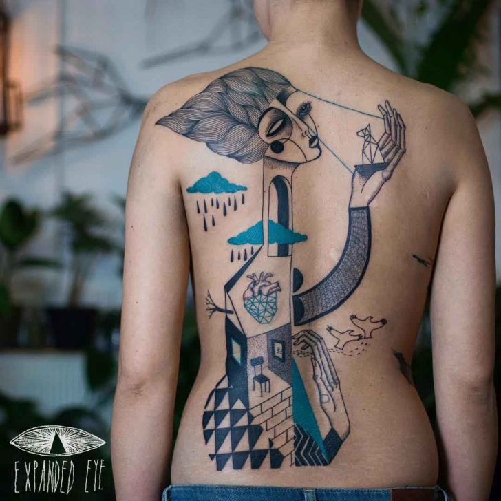 back cubism tattoo