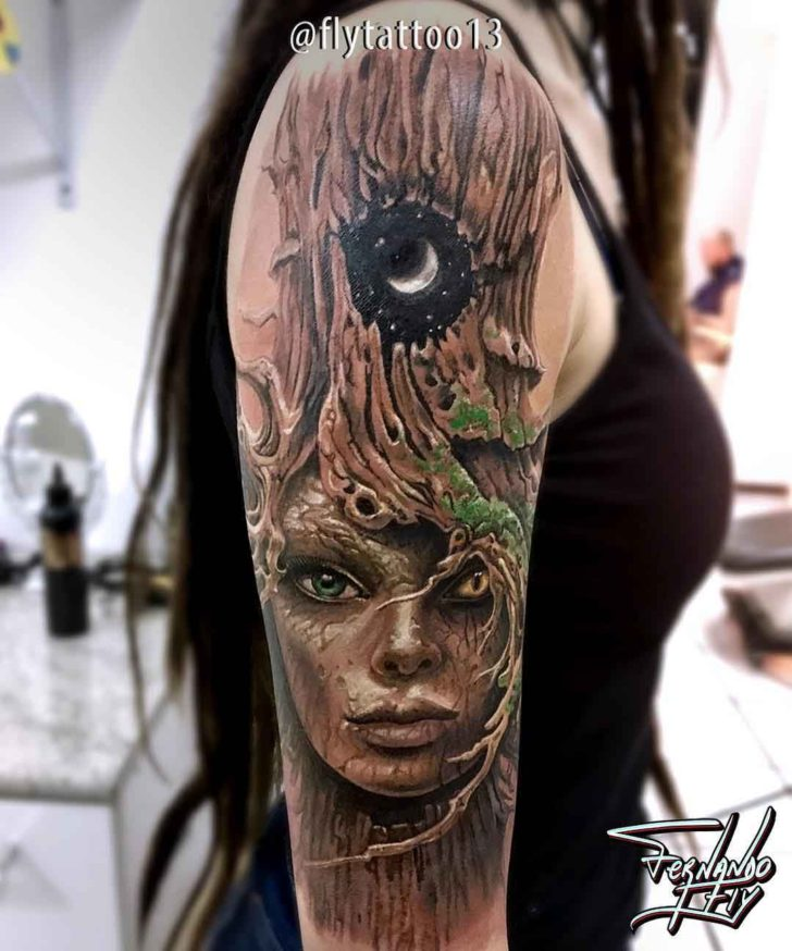 shoulder realistic tattoo forest spirit