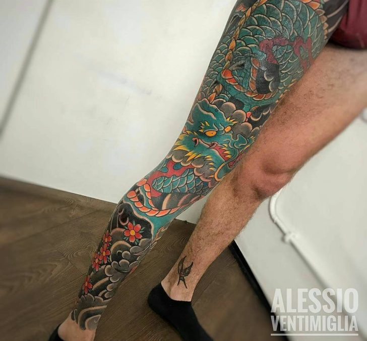 Full leg yakuza tattoo