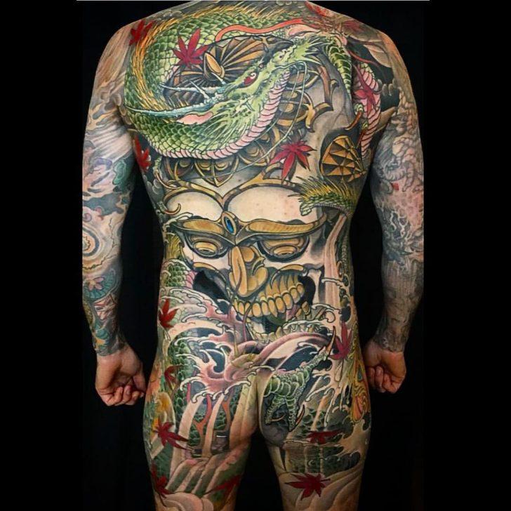 Back Skull and Dragon Tattoo Yakuza