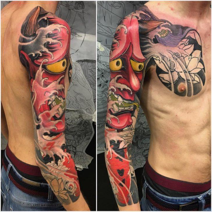 Hannya Mask Tattoo Sleeve Yakuza