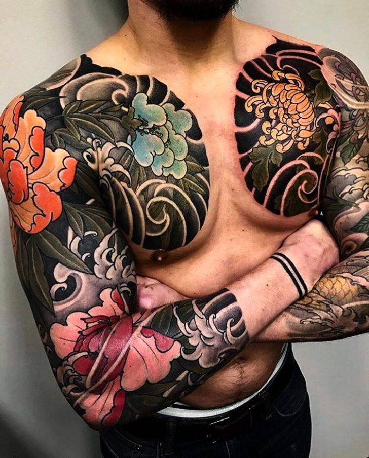 Yakuza Tattoo Sleeves with FLowers