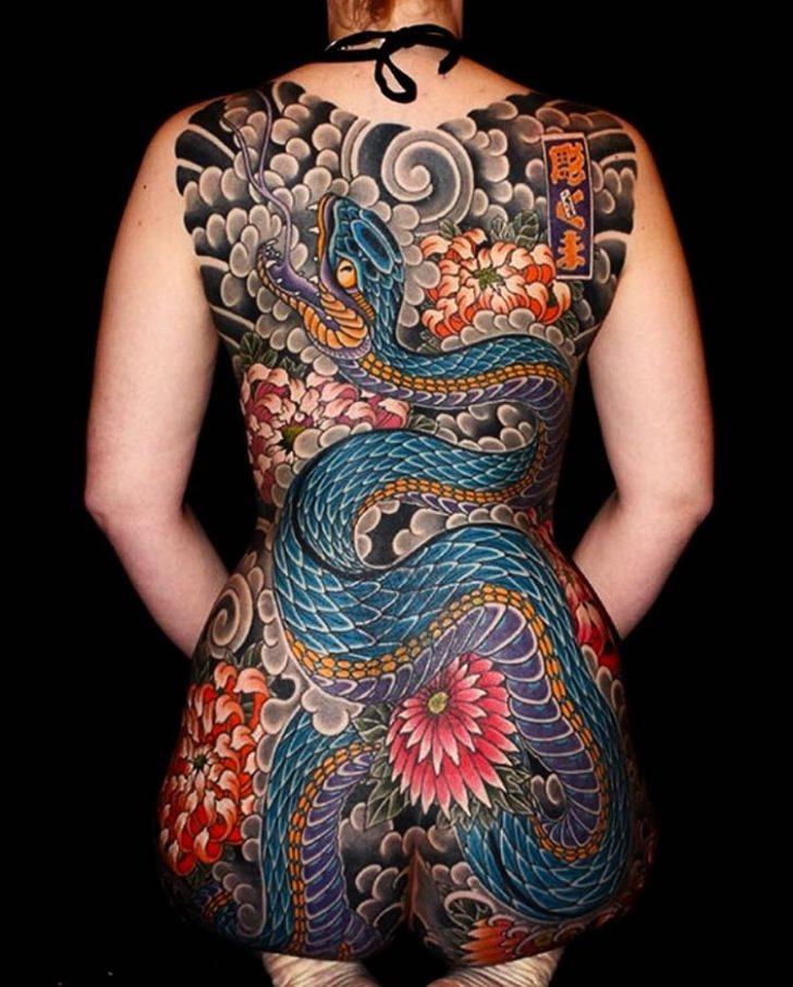 Back Snake Yakuza Tattoo