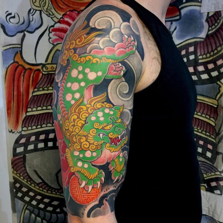 Green Shoulder Dragon Tattoo