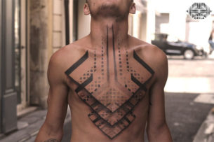 3D Geometric Tattoo on Chest