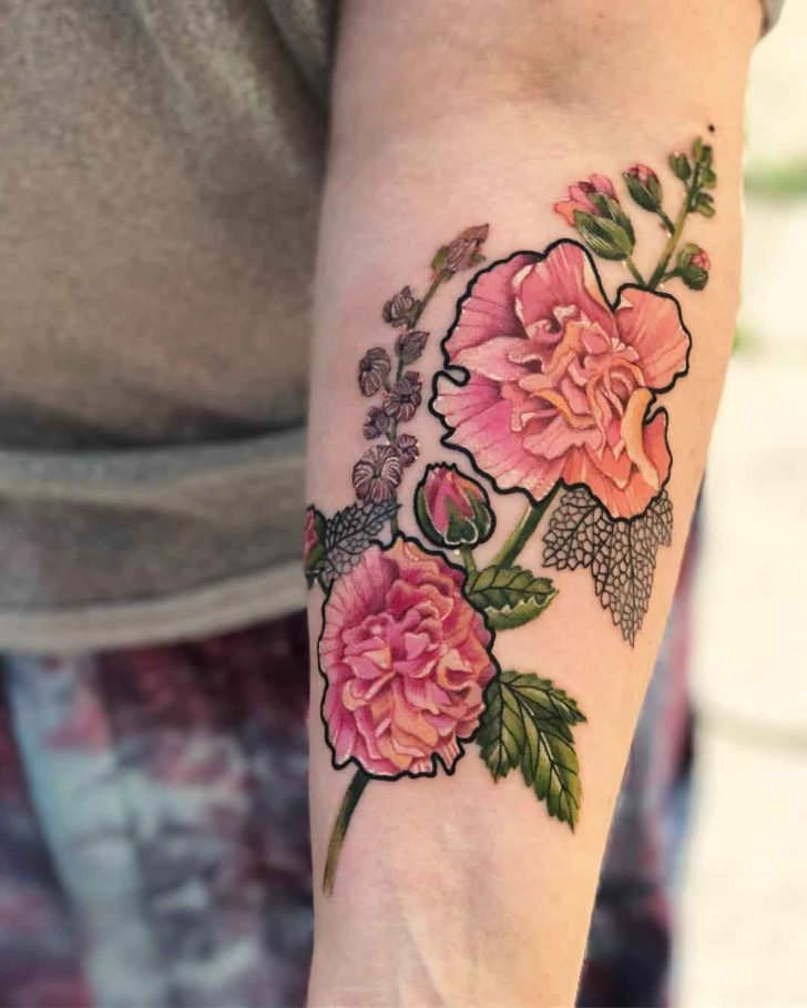 arm tattoo pink alcea rose