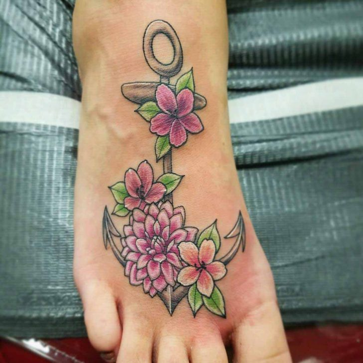 foot tattoo anchor with flowers