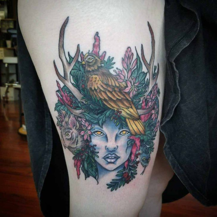 thigh tattoo artemis