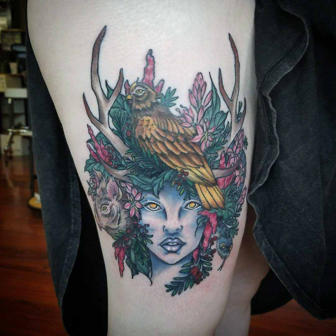 Artemis Tattoo on Thigh