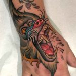 Baboon Tattoo on Hand