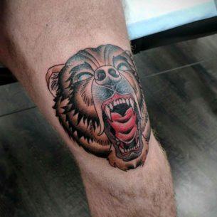 Bear Tattoo on Knee