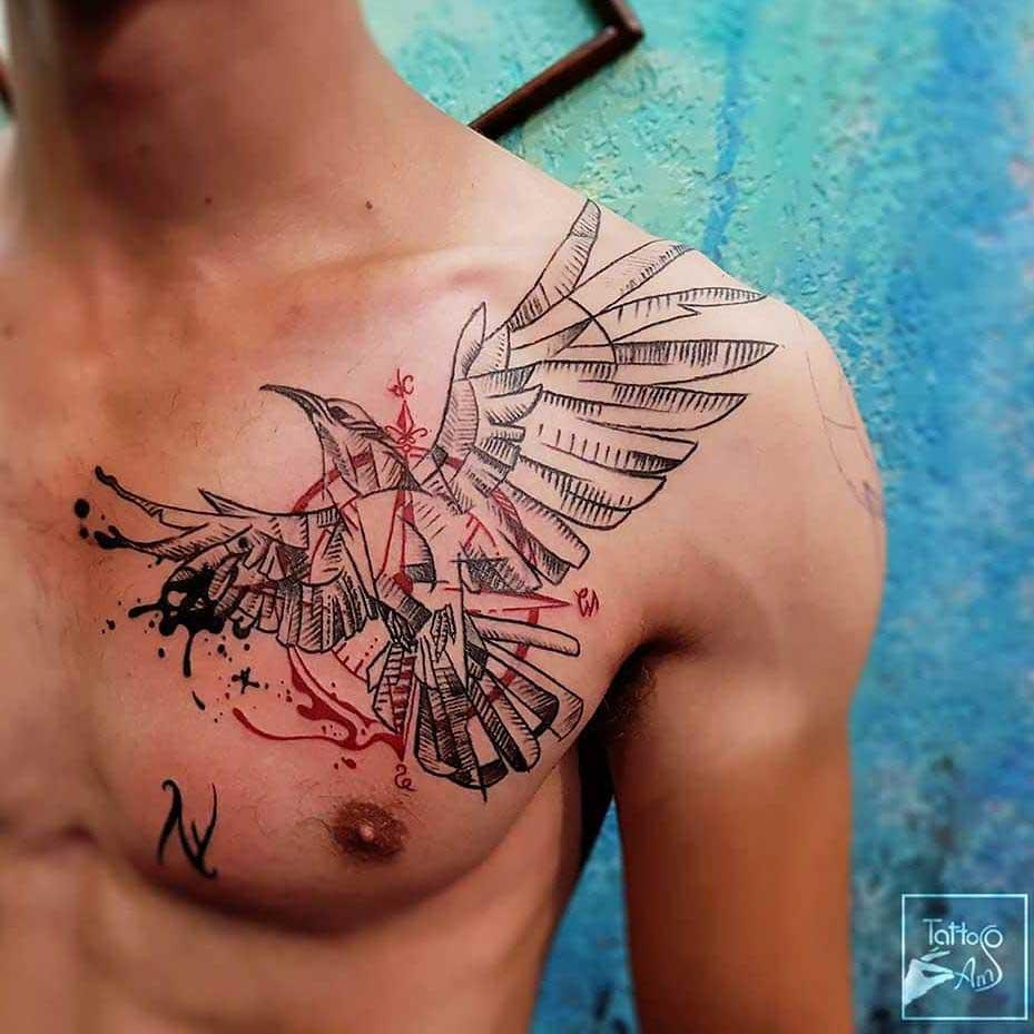 chest to collar bone tattoo bird