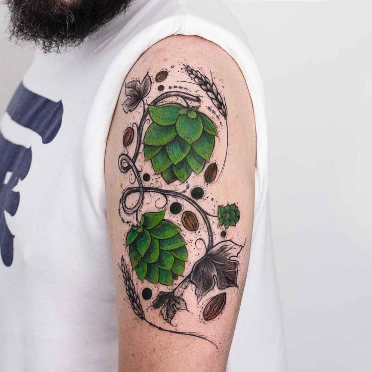 shoulder floral tattoo