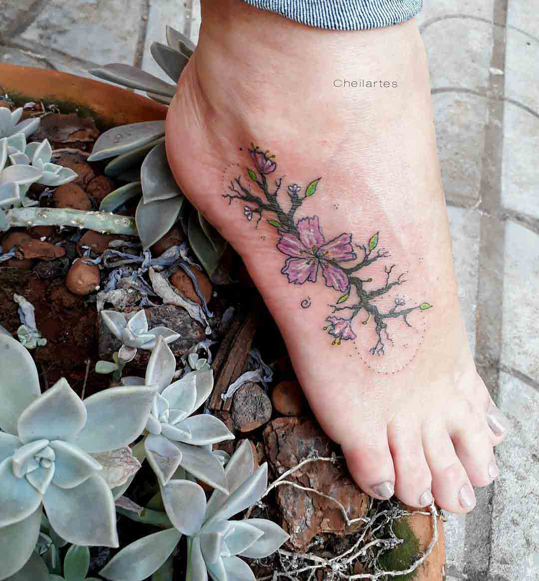 foot tattoo flowers