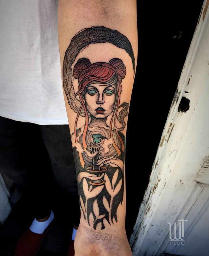 arm tattoo girl with candle