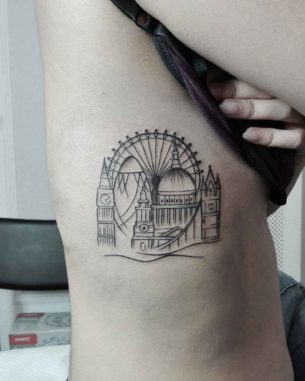 London Tattoo on Ribs
